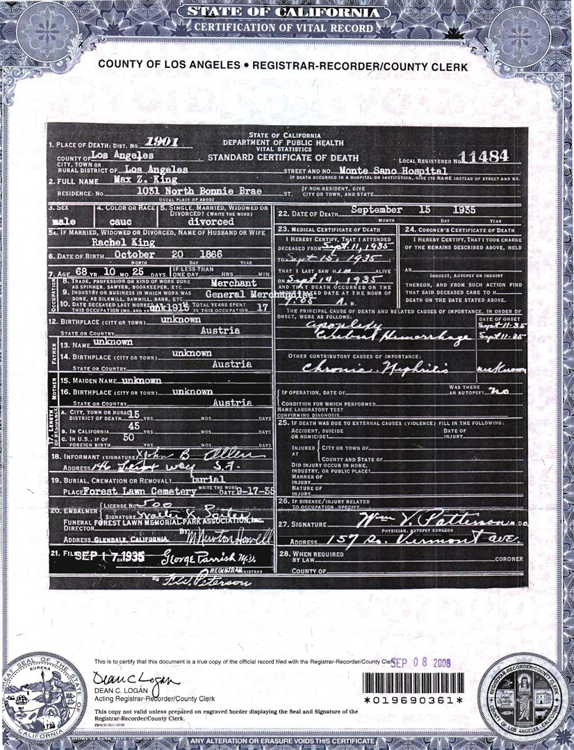 Documents Max Z King Death Certificate Los Angeles County
