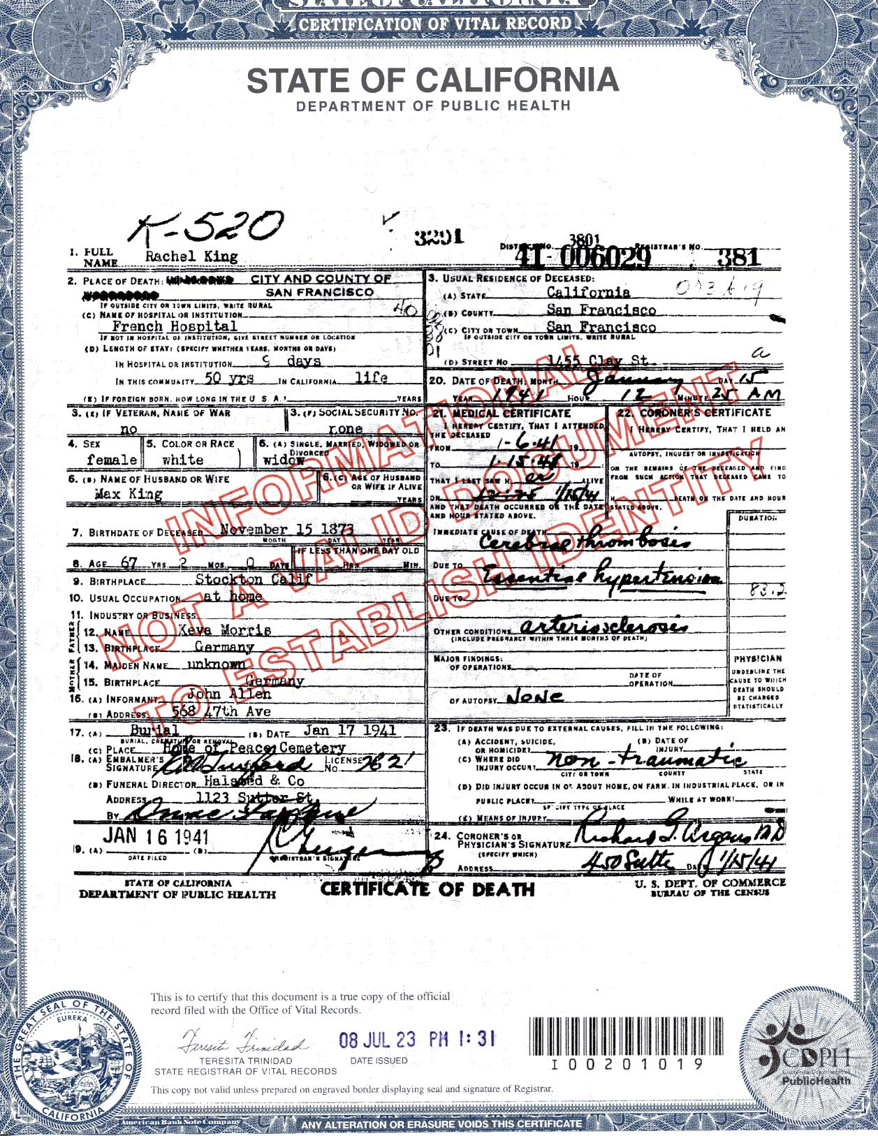 Documents State Of California Death Certificate Rachel Morris