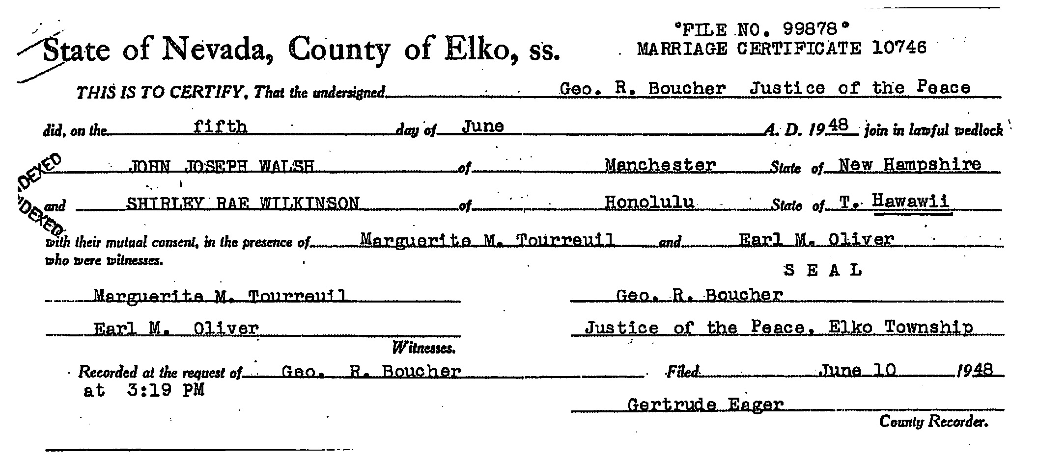 Documents Marriage Certificate John Joseph Walsh And Shirley
