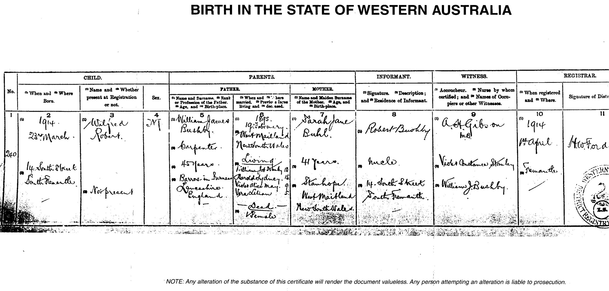 Documents wilfred robert bushby birth certificate south documents wilfred robert bushby birth certificate south fremantle western australia craig and marjorie walsh geneology website aiddatafo Gallery