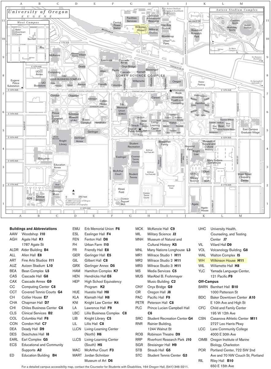 Walsh Campus Map.Documents University Of Oregon Eugene Campus Map Craig And