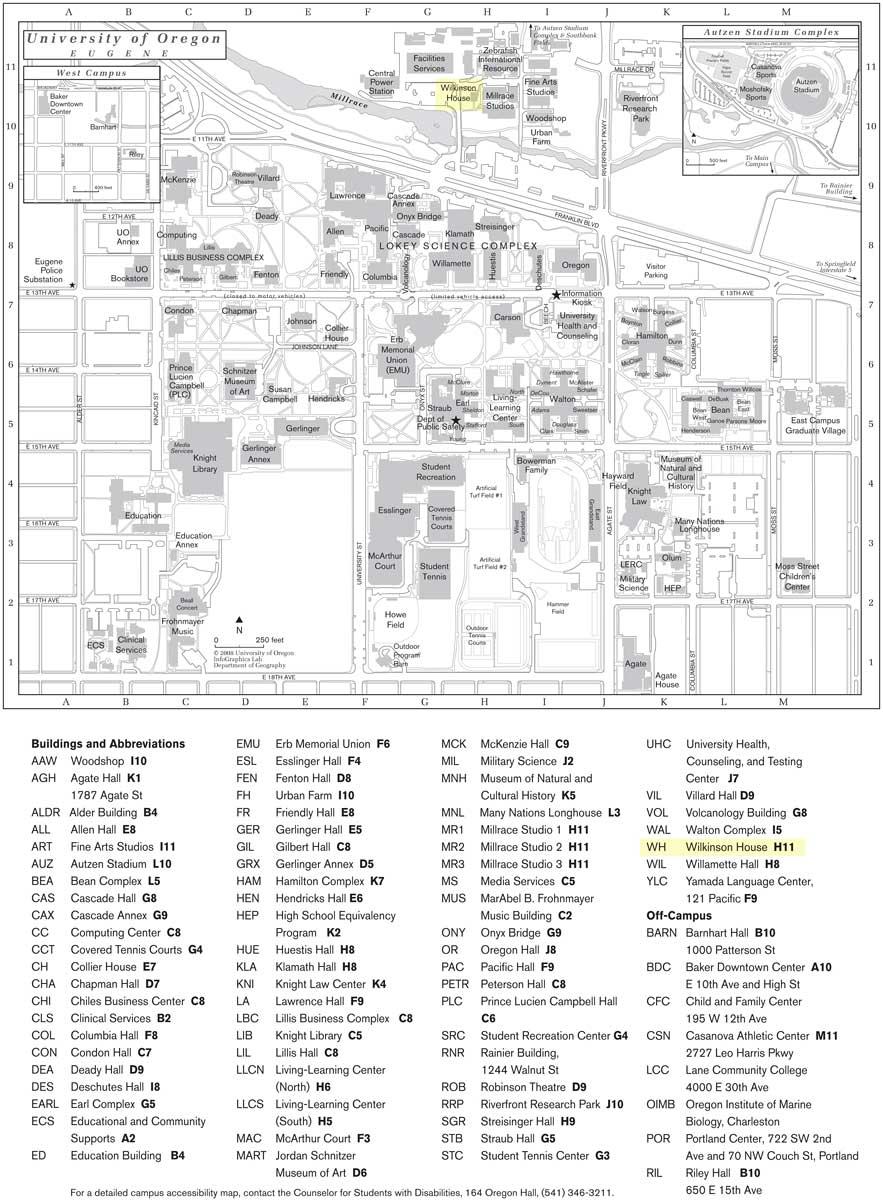 Documents: University of Oregon, Eugene - Campus Map: Craig ...